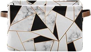 Doshine Panier de rangement géométrique en marbre abstrait avec poignées - Pliable - Grand cube de rangement - Panier à li...
