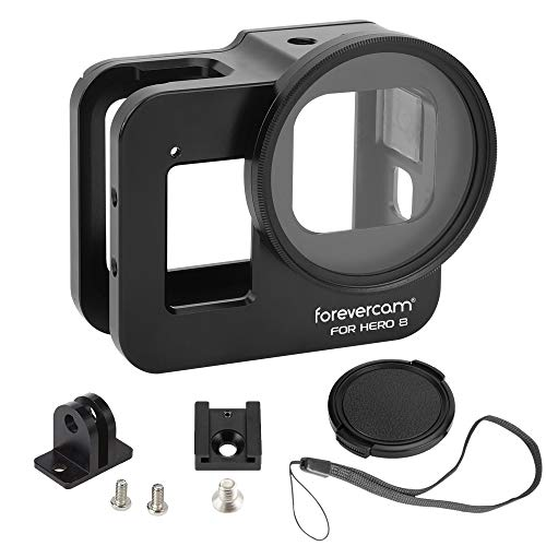 Forevercam - Carcasa Protectora de aleación de Aluminio Compatible con GoPro Hero 8, Color Negro, Accesorios con Lente de 52 mm
