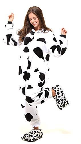 Tante Tina Ganzkörper Tierkostüm Kuh für Erwachsene - Kuhkostüm für Erwachsene aus kuschligem Plüsch und Flannel - Schwarz/Weiß - Größe XL