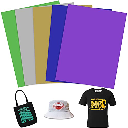 INHEMING Láminas para plóter textil, 5 hojas de vinilo de transferencia de calor, lámina flexible para camisetas, telas – 21 x 29 cm