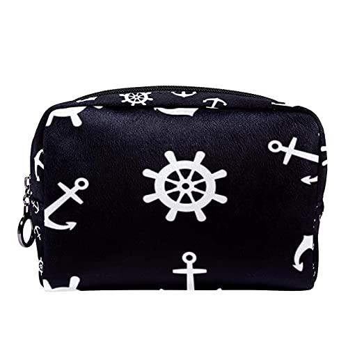 Kosmetiktasche Reise-Toilettenartikel täglich tragbare Make-up-Tasche mit Reißverschluss Zip,Anker Ruder Ozean Meer