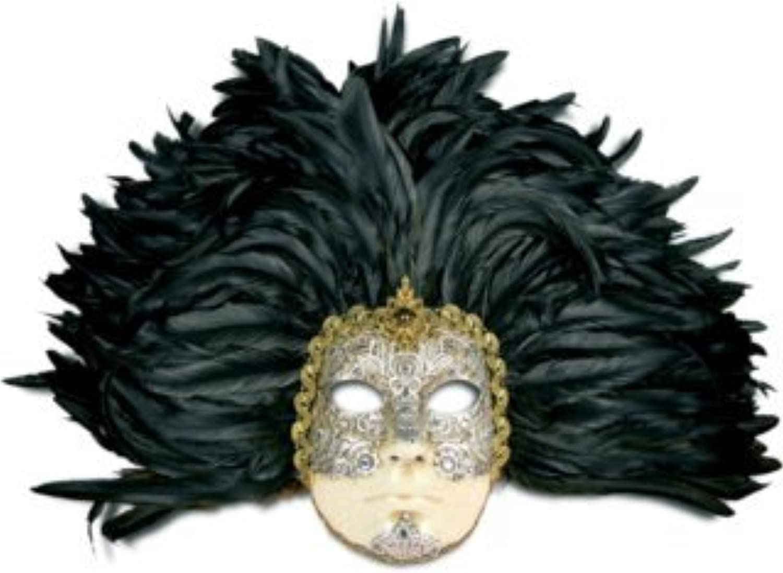 Karneval - Halloween - venezianische Maske - Piuma grande volto macrame Silber piume nere