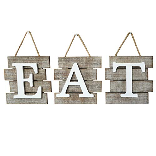 Barnyard Designs Eat Sign Wall Decor for Kitchen and Home Distressed Natural Rustic Farmhouse Country Decorative Wall Art 24 x 8