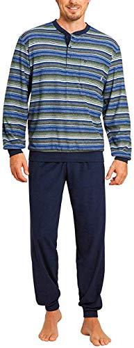 hajo - Herren Schlafanzug lang (Pyjama) Marine grün Klima-Frottee* 56