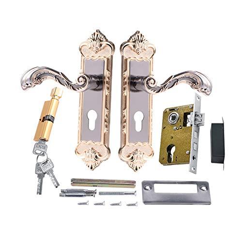 2PCS im europäischen Stil Innen Diebstahlschutz Türschloss mit 3Schlüssel Retro Tür Griff Aluminium Legierung Handlauf für Home Schlafzimmer Büro