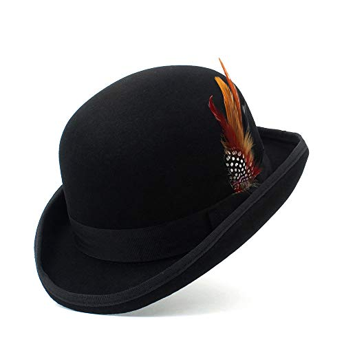 Xuguiping zwarte Steampunk Victoriaanse formele kap hoed wolvilt wijnoogst Magier Fedoras President Bowler Hat xuguiping 55 cm zwart