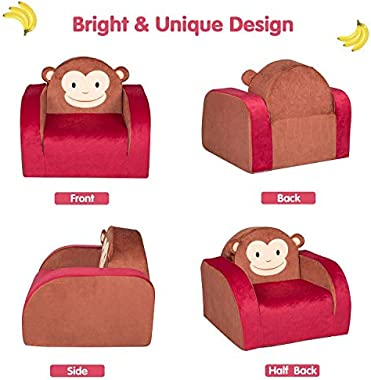 Children's 3 in 1 Flip Open Foam Sofa Kids Fold Out Armchair Toddler Plush Lounge Bed for Nursery School Game Room