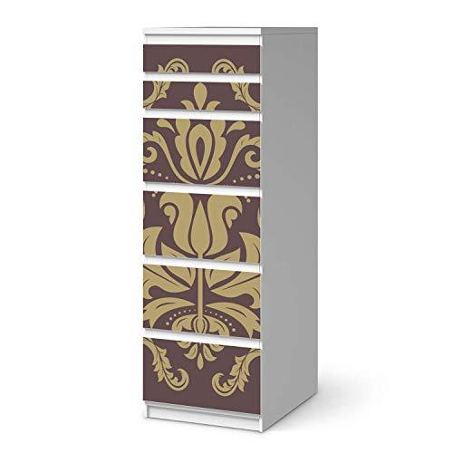 creatisto Möbeltattoo passend für IKEA Malm Kommode 6 Schubladen (schmal) I Möbelaufkleber - Möbel-Folie Tattoo Sticker I Wohn Deko Ideen für Esszimmer, Wohnzimmer - Design: Retro Revival