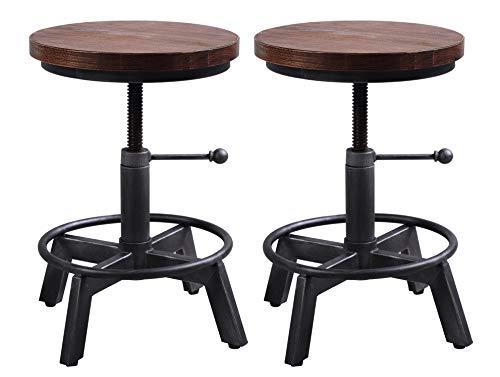 "Industrial Bar Stool-Set of 2,Swivel Adjustable Counter Height Stool,Farmhouse Kitchen Stools,15""-21"""