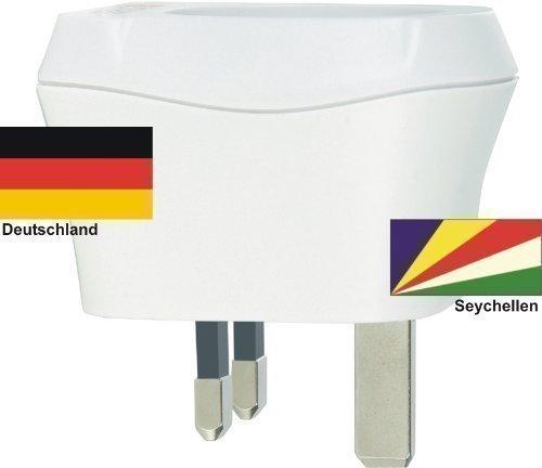 Design Reisestecker Adapter Seychellen auf Deutschland, Schukostecker 230V, Umwandlungsstecker SC-D