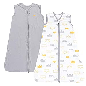 TILLYOU Small S Breathable Cotton Baby Wearable Blanket with 2-Way Zipper, Super Soft Lightweight 2-Pack Sleeveless Sleep Bag Sack for Boys, Fits Infant Newborn Ages 0-6 Months, Gray Crown
