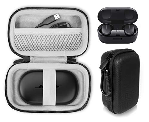 CaseSack Protective case for Bose QuietComfort Noise Cancelling Earbuds - True Wireless Earphones , Mesh Accessories Pocket, Compact and Light Weight Strong case, Easy Carrying Finger Strap