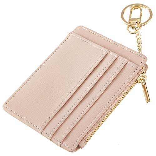 Sodsay Card Case Slim Front Pocket Wallet for Women Credit Card Holder with Keychain(Smooth Pink Champagne)