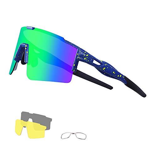 DUDUKING Sportbrille Polarisierte Sonnenbrille für Herren und Damen mit 3 Wechselobjektiven TR90 UV401 Schutz Windschutz Radsportbrille für Outdooraktivitäten Autofahren Fischen Laufen Wandern