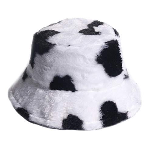 VALICLUD Eimer Hut Kuh Muster Kunstpelz Fischerhut Packbare Flauschige Hut Wintermützen für Männer Frauen