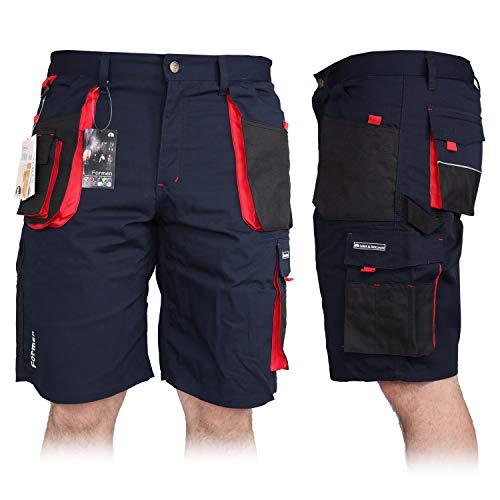 Kurze Arbeitshose für Herren, Bermuda Shorts Sommerhose Sicherheitshose Schutzhose Arbeitsbekleidung Sommer, Blau-Schwarz-Rot, XXL