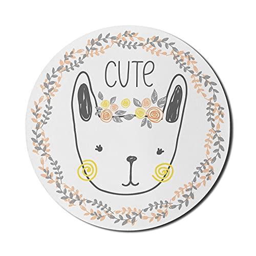 Alfombrilla de ratón con forma de conejito para ordenadores, con letras de una cabeza de conejo floral en una guirnalda floral, pastel para baby shower para niñas, redonda, antideslizante, de goma gru