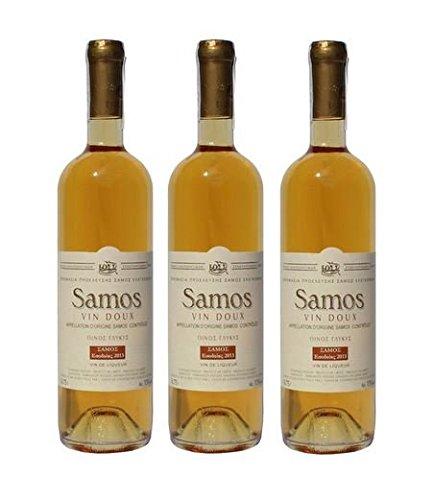 3x Griechischer Weißwein Samos Vin Doux je 750ml Muscat Muskat Wein aus Griechenland Likörwein Weiß Wein Spar Set + Sachet 10ml Olivenöl aus Kreta