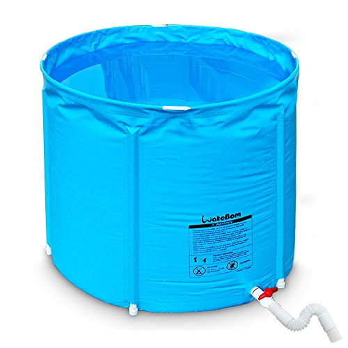 Portable Plastic Bathtub, Folding Spa BathTub for Adults, 31 inches Freestanding Soaking Tub Non-Inflatable Ice Bath Tub, Thickened Thermal Foam to Keep Temperature