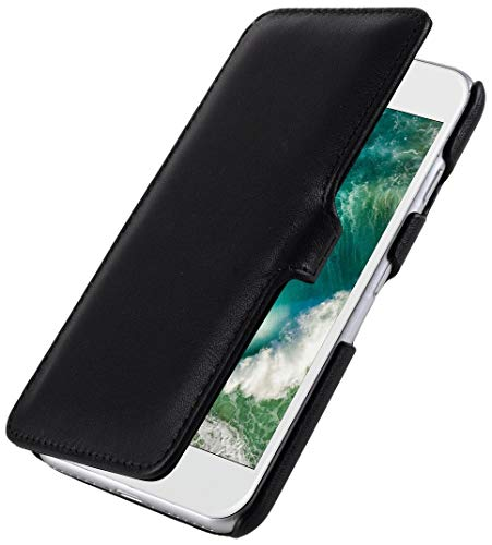 StilGut Leder- Hülle kompatibel mit iPhone 8/iPhone 7 Book Type mit Clip, Schwarz Nappa