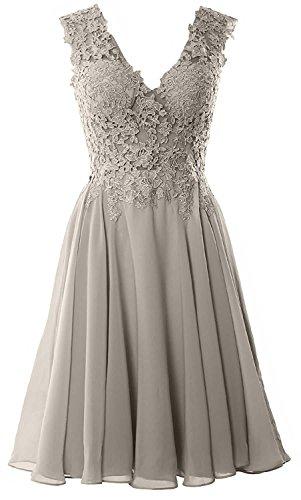 Beyonddress Damen Chiffon Abendkleider Elegant Kurz Spitze Brautjungfernkleider V-Ausschnitt Ballkleider Cocktailkleider(Silber,36)