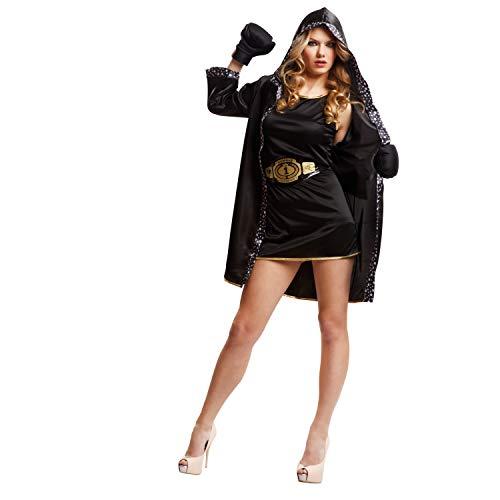 My Other Me Me - Disfraz de boxeadora para mujer, M-L, color negro (Viving Costumes 203345)