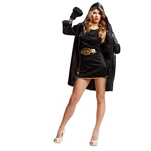 My Other Me Me-203345 Disfraz de boxeadora para mujer, color negro, M-L (Viving Costumes 203345)