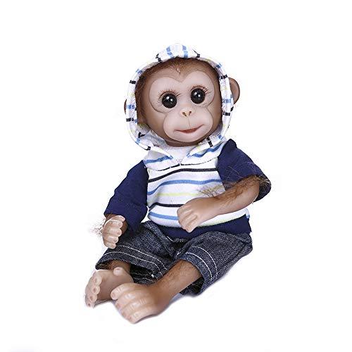 Tickas Monkey Doll,Realistic Baby Monkey Doll Mini Size 8 Inches Lifelike Reborn Baby Monkey Handmade Detailed Painting Art Dolls with Blue Stripe Hoodies