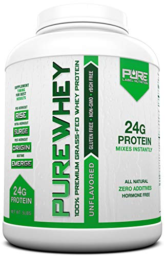 Grass Fed Whey Protein - 5lb Unflavored - 100% Natural, Cold Processed Undenatured Whey w/No Sweeteners or Added Sugars - rBGH Free + GMO-Free + Gluten Free + Preservative Free - Pure Whey