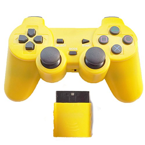 Bowink Wireless Gaming Controller for Ps2 Double Shock - Solid Yellow