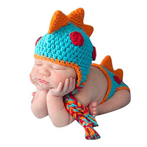 cinnamou Disfraz de Animales Suave Infantil Hecho a Mano de Punto de Lana recién Nacido del Ganchillo del Escarabajo fotografía apoya la Juguetes Disfraces Ropa del bebé 3 años (Naranja Azul)