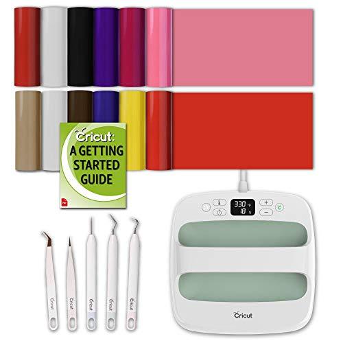 Cricut Easy Press 2 Bundle: Heat Press Machine, Everyday StrongBond Iron-On, Weeding Kit, Raspberry, 9x9