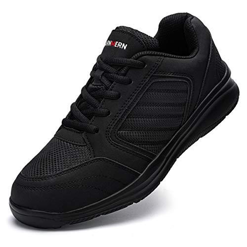 Ziboyue Sicherheitsschuhe Herren Damen wasserdichte Leicht Arbeitsschuhe S3 Atmungsaktiv Sportlich mit Stahlkappe Schuhe (Klassisch schwarz,43.5 EU)
