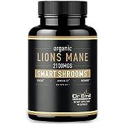 Organic Lions Mane Mushroom Capsules - Maximum Dosage + Absorption Enhancer - Nootropic Brain Supplement and Immune Support (100% Pure Lions Mane Extract)
