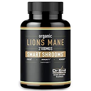 Organic Lions Mane Mushroom Capsules – Maximum Dosage + Absorption Enhancer – Nootropic Brain Supplement and Immune Support (100% Pure Lions Mane Extract)