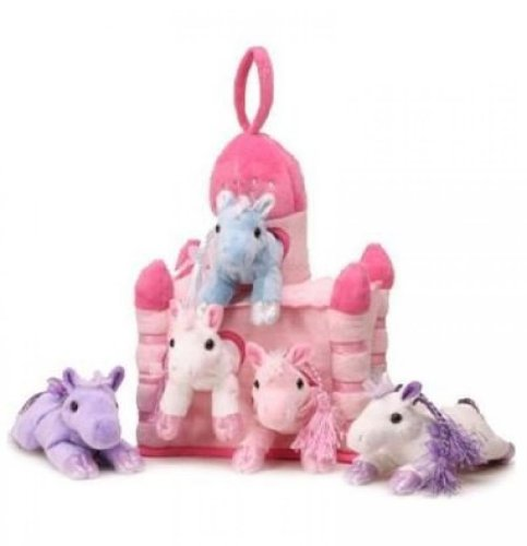 """Unipak 12"""" Pink Plush Horse Castle - 5 Stuffed Animal Horses in Pink Castle Carrying Case"""
