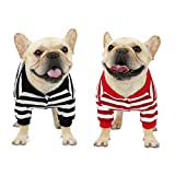 2 Pack Striped French Bulldog Sweatshirt Dog Sweater Shirt for Pug Stretchy Coat Jacket 2 Legs Pet Doggie Clothes Fashion Outfit