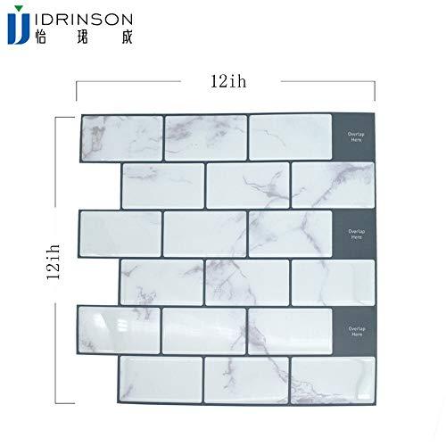 QWERTYU Wit grote anti-tegels zelfklevend 3D behang DIY keuken badkamer decoratieve wandtegels wit metro LIJIANME