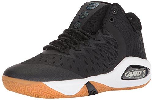AND 1 Men's Attack Mid Basketball Shoe, Black/Junebug/Gum, 10.5 M US