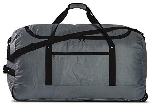 Reisetasche Ultra leicht & faltbar Travel Bag Tasche mit 3 Skater-Rollen Trolley 100 Liter Rollenreisetasche in Grau