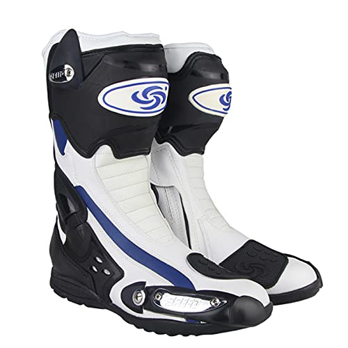Sebasty Botas de Moto,Motocross de Protección Racing Speed Zapatos de Moto Bota de Moto Dirt Bike Ciclismo Deportes,White-42