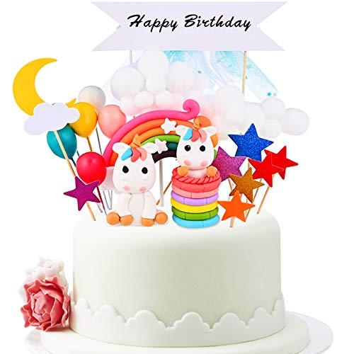 GOLDGE 25Pcs Tortendeko Geburtstag Einhorn Kuchen Einhorn kuchendeko Regenbogen Happy Birthday Einhornparty für Kinder Mädchen Junge