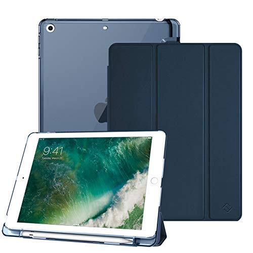 Fintie Hülle mit Pencil Halter für iPad 9.7 Zoll 2018 - Ultradünn Superleicht Schutzhülle mit transparenter Rückseite Abdeckung Cover mit Auto Schlaf/Wach für iPad 6. Generation, dunkelblau