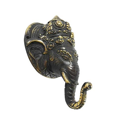 Cabeza de Ganesh de pared – Perchero 1 gancho de bronce 13 cm Divinidad Hindoue