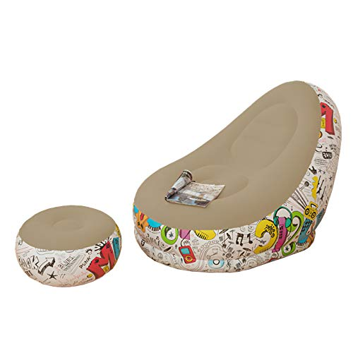 Hinzonek Aufblasbarer Liegestuhl mit Fußstütze Beflocktes Faules Sofa Ottomane Sprengen Chaiselongue Luft Faul Sofa Set Beflockte Couch