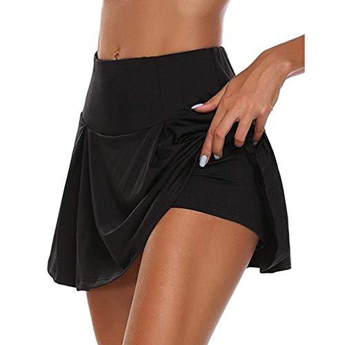 Workout Pleated Skirt, Falda Deportiva para Mujer con Pantalones Cortos incorporados Falda Ligera, Minifalda Falda Corta Elástica de Verano Falda