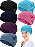 Geyoga 6 Pieces Soft Gourd-Shape Caps with Buttons Stretch Bouffant Hats Turban Headband with Ear Loop Holder Buttons
