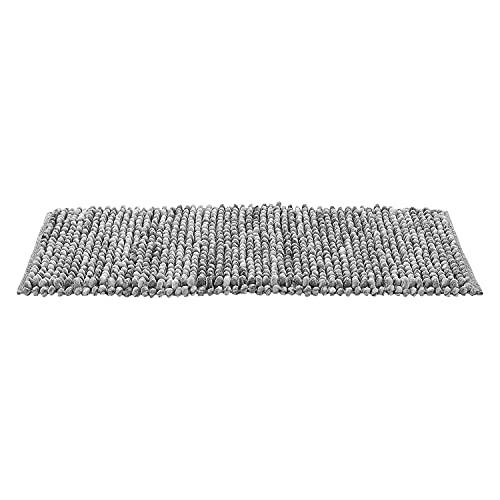 NuvolaNera Tappeto bagno in 2 misure effetto Pop Corn Vintage Slavato a pelo lungo – Retro antiscivolo gommato – 55x110 cm Grigio