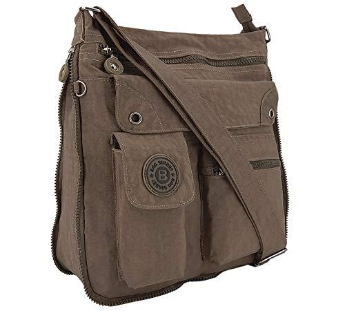 ekavale - leichte Damen-Umhängetasche - Praktische Crossbody-Handtasche - mit vielen fächern - Schultertasche | wasserabweisende Damentasche (Stone)