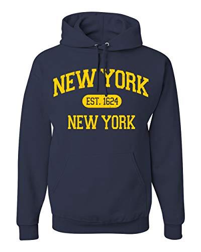 Men's Pullover Ultimate Heavyweight Fleece Hooded Sweatshirt   New York   Est-1624   Vintage Graphic Design. (Navy, L)